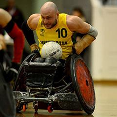 Chris Bond playing wheelchair rugby