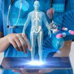 Healthcare worker with tablet and DNA strand, pills, body superimposed