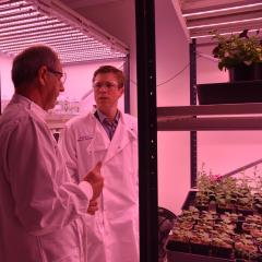 Professor David Craik and Julian Simmonds MP in plant room