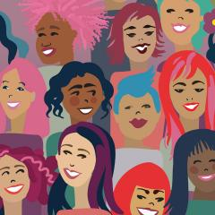 Cartoon representation of diverse women.